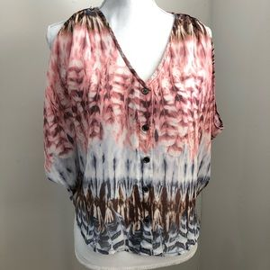 Ali & Kris feather design flowy button down blouse